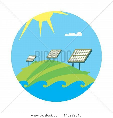 Clean energy, round vector illustration. Solar panels in field under the sun and blue sky. Ecological types of electricity. Natural landscape. Eco generation. Renewable resources concept.