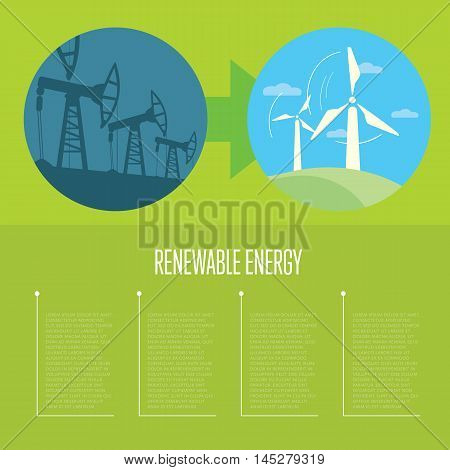 Vector illustration of evolution from industrial pollution to renewable energy. Wind turbines in green field. Industrial machine for petroleum. Green ecology infographics template with space for text