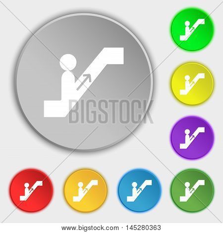 Escalator Icon Sign. Symbol On Eight Flat Buttons. Vector