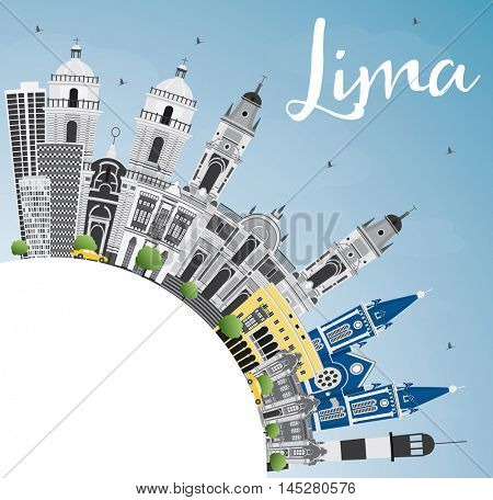 Lima Skyline with Gray Buildings, Blue Sky and Copy Space. Business Travel and Tourism Concept with Lima City. Image for Presentation Banner Placard and Web Site.