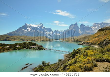 Great lake and mountain at Torres del Paine National Park