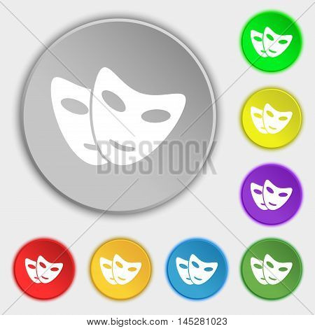 Mask Icon Sign. Symbol On Eight Flat Buttons. Vector