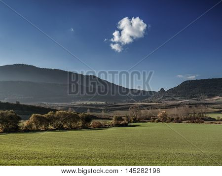 Landscape near Bilbao in the North of Spain in Europe during summer