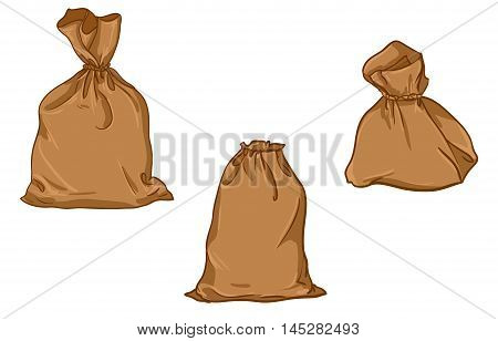 Canvas set sack vector. canvas bag. Illustration of a canvas sack