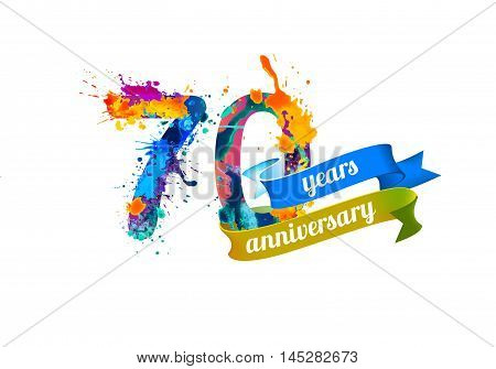 70 (seventy) years anniversary. Vector watercolor splash paint