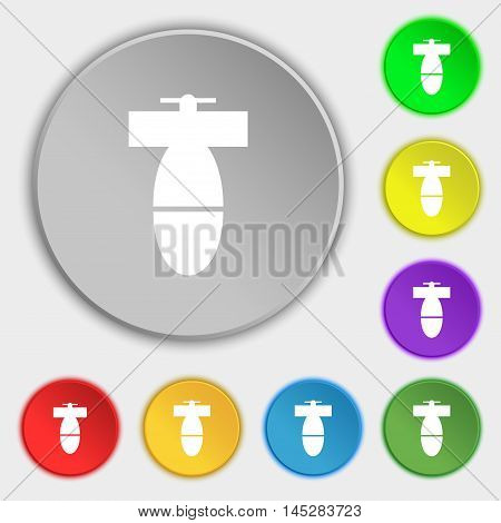 Mortar Mine Icon Sign. Symbol On Eight Flat Buttons. Vector