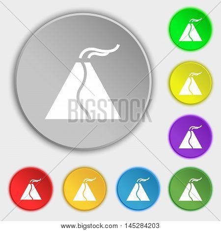 Active Erupting Volcano Icon Sign. Symbol On Eight Flat Buttons. Vector