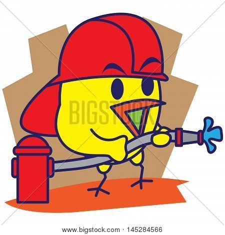 Bird firefighter of Illustration vector art for Tshirt