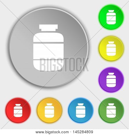 Medication Icon Sign. Symbol On Eight Flat Buttons. Vector
