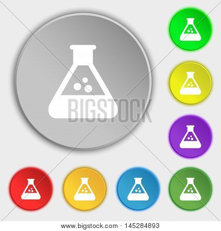 Chemistry Icon Sign. Symbol On Eight Flat Buttons. Vector