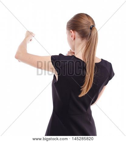 skinny woman funny fights waving his arms and legs. Blonde in a short black dress learns to fight.