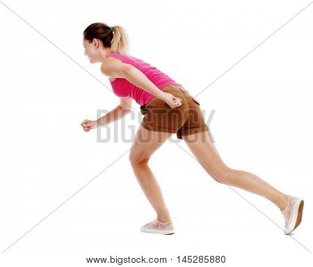 side view woman start position. Isolated over white background. Sport blond in brown shorts will start the race