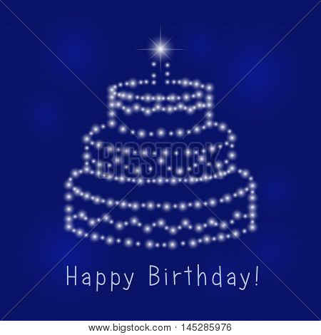 The luminous cake holiday greeting. Happy birthday card.