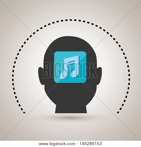 silhouette music note icon vector illustration eps10