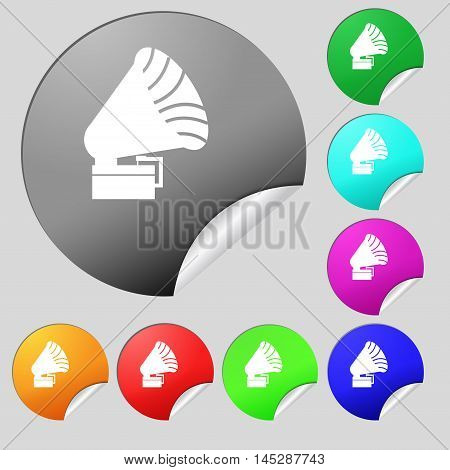 Gramophone Icon. Sign. Set Of Eight Multi Colored Round Buttons, Stickers. Vector