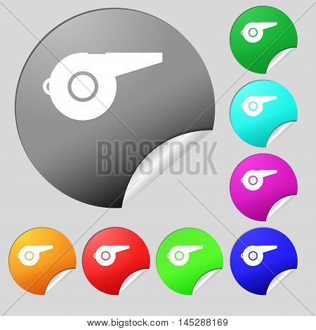 Whistle Icon Sign. Set Of Eight Multi Colored Round Buttons, Stickers. Vector
