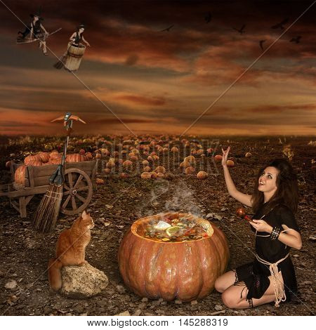 A girl and her cat are sitting by a pumpkin together. They brew a magic potion in it. That is Halloween.