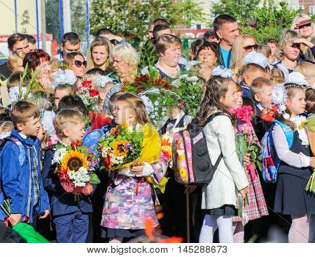 St. Petersburg, Russia - 1 September, First-graders with a microphone,1 September, 2016. School holiday the Day of Knowledge.