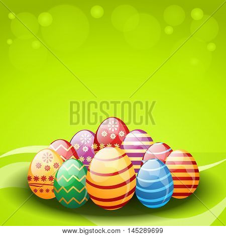Vector decorated easter eggs on green background