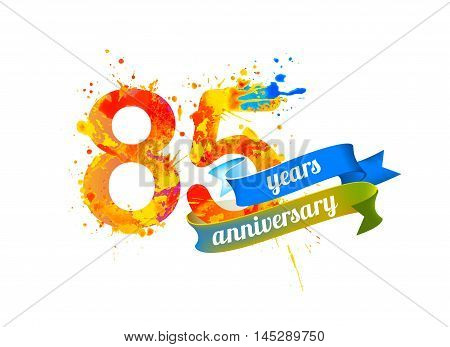 85 (eighty five) years anniversary. Vector watercolor splash paint