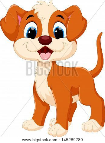Vector illustration of cute dog cartoon  isolated on white background