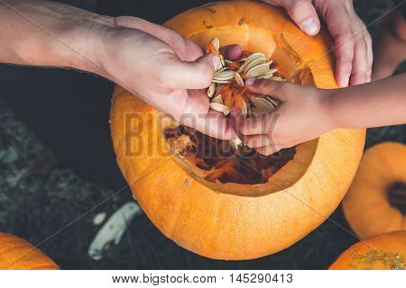 Close Up Of Daughter And Father Hand Who Pulls Seeds  Fibrous Material From  Pumpkin Before Carving