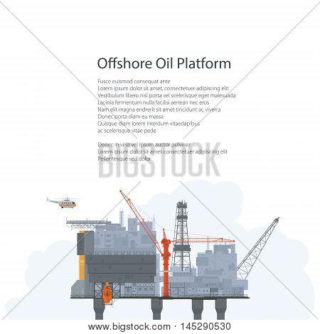 Offshore Sea Oil Platform on White Background, Oil Industry , Poster Brochure Flyer Design, Vector Illustration