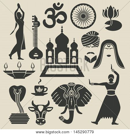 India Exotic icons set. vector illustration - eps 8