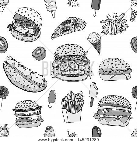 Monochrome Seamless various food background in doodle style. Vector illustration