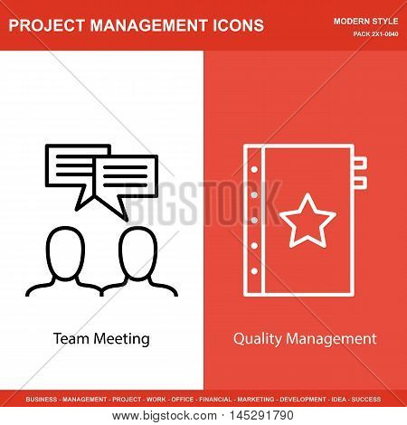 Set Of Project Management Icons On Team Meeting And Quality Management. Project Management Icons Can