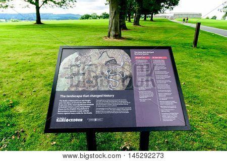 BANNOCKBURN SCOTLAND - August 29 2016: Visitor information sign at The Battle of Bannockburn visitors centre near Stirling.