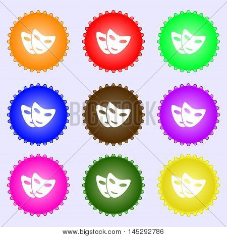Mask Icon Sign. Big Set Of Colorful, Diverse, High-quality Buttons. Vector