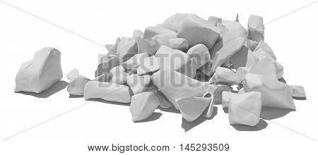 Pile of white stone isolated on white background. 3D illustration