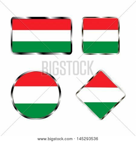 Vector illustration of logo for the country of Hungary. Isolated in the drawing consists of flag chrome frame contingent European design on a white background.Badge for government states atlas map