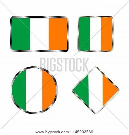 Vector illustration of logo for the country of Ireland. Isolated in the drawing consists of flag chrome frame contingent European design on a white background. Badge for government states atlas map