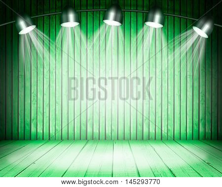 Illuminated empty green concert stage with soffits. 3D illustration
