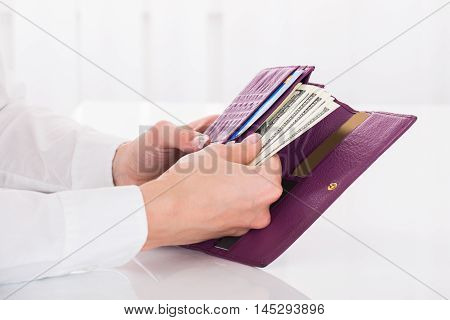Close-up Of A Female's Hand Holding Purse With Banknotes