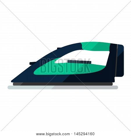 Iron black flat icon. Appliance for housekeeping