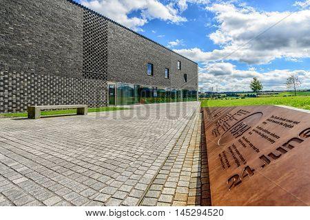 BANNOCKBURN SCOTLAND - August 29 2016: The Battle of Bannockburn visitor centre main building in Stirling Scotland.