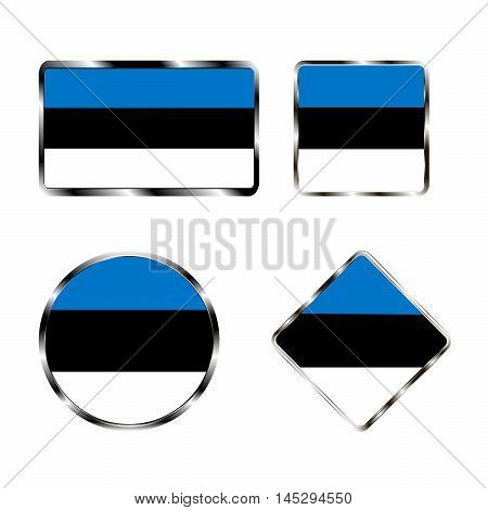 Vector illustration of logo for the country of Estonia. Isolated in the drawing consists of flag chrome frame contingent European design on a white background. Badge for government states atlas map