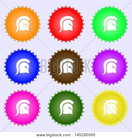 Spartan Helmet Icon Sign. Big Set Of Colorful, Diverse, High-quality Buttons. Vector