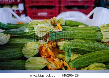 Fresh ripe green courgettes with flowers in boxes in whole sale market ready for retail