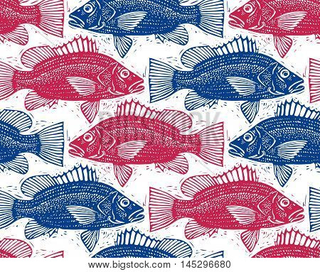 Seamless sea vector pattern different fish silhouettes. Hand drawn fauna nature continuous background.