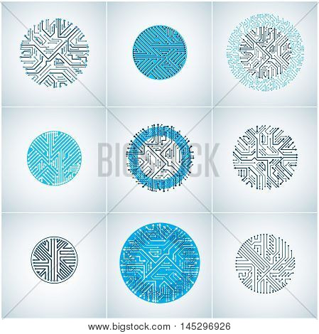 Vector Blue Circuit Board Circles, Digital Technologies Abstractions. Set Of Computer Microprocessor