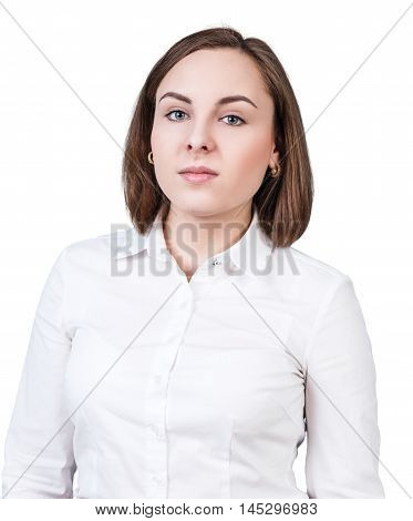 Young woman with serious face isolated on white background
