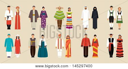 Big set of national costumes. Russian and Japanese Chinese and Korean Mexican and Spanish and Arabic German Indian and Vietnamese traditional costumes