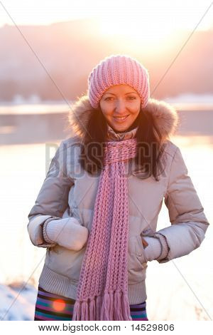 Positive Smiling Girl In Winter Clothes