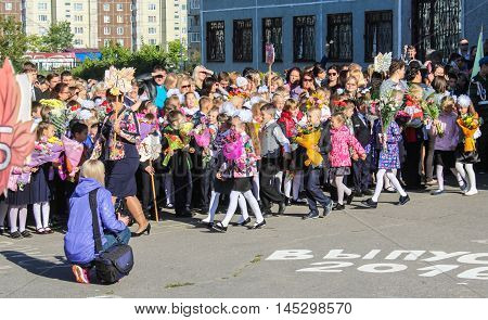 St. Petersburg, Russia - 1 September, First graders on a school ruler,1 September, 2016. School holiday the Day of Knowledge.