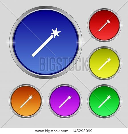 Magic Wand Icon Sign. Round Symbol On Bright Colourful Buttons. Vector