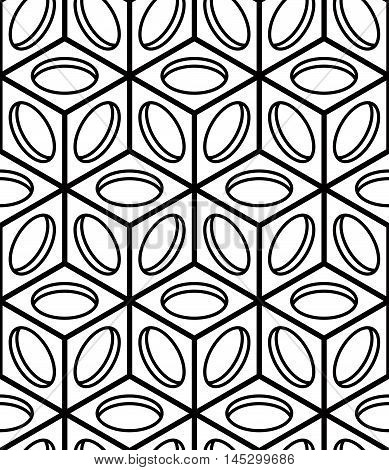 Illusive continuous monochrome pattern decorative abstract background with 3d geometric figures. Contrast ornamental seamless backdrop can be used for design and textile.